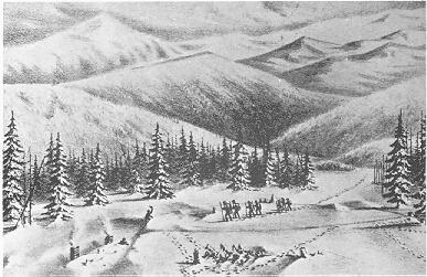 Drawing of First Relief at cabin