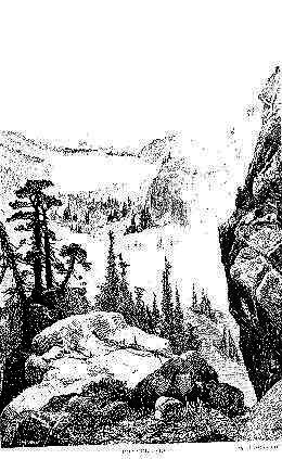 Drawing of lake viewed from Donner Pass