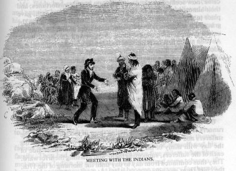 Drawing of the Snowshoe Party meeting the Indians