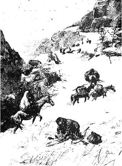 Drawing of Donner Party on mountain