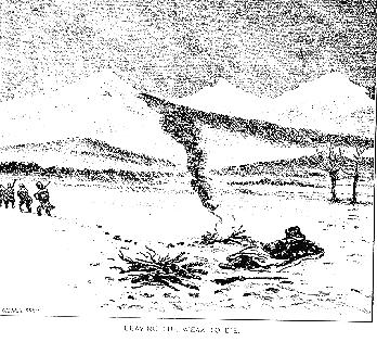 Drawing of Denton by a fire