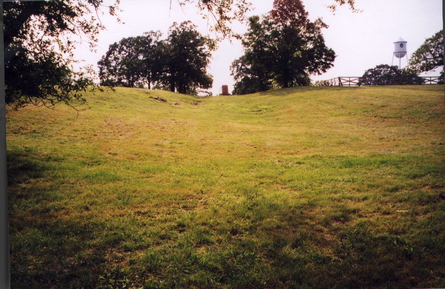 Photograph of trail ruts and monument